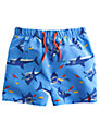 Little Joule Shark Print Swim Shorts, Light Blue