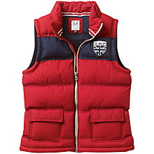 Buy Crew Clothing Boys' Preston Puffer Gilet, Red Online at johnlewis.com