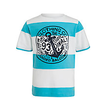 Buy Crew Clothing Boys' Simon Stripe T-Shirt, Aqua Online at johnlewis.com