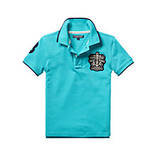 Buy Tommy Hilfiger Boy's Badge Polo Shirt, Aqua Online at johnlewis.com