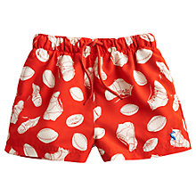 Buy Little Joule Boys' Ocean Rugby Print Swim Shorts, Red Online at johnlewis.com