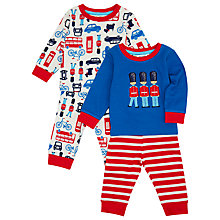 Buy John Lewis London Print Pyjamas, Pack of 2, Blue/Red Online at johnlewis.com