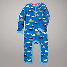 Buy John Lewis Whales & Boat Print Sleepsuit, Blue Online at johnlewis.com