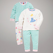 Buy John Lewis Stripe Fairy Pyjamas, Pack of 2, Cream/Mint Online at johnlewis.com