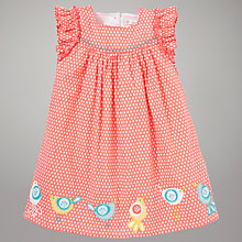 Buy John Lewis Patterned Bird Dress, Coral/White Online at johnlewis.com