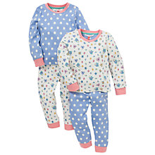 Buy John Lewis Floral & Polka Dot Pyjamas, Pack of 2, Blue/Cream Online at johnlewis.com