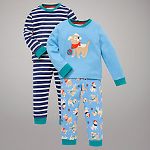 Buy John Lewis Puppy Dog & Stripe Pyjamas, Pack of 2, Blue Online at johnlewis.com