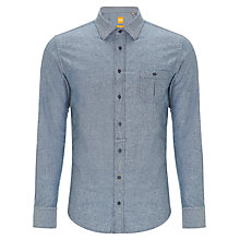 Buy Boss Orange Eslimye Chambray Long Sleeve Shirt, Blue Chambray Online at johnlewis.com