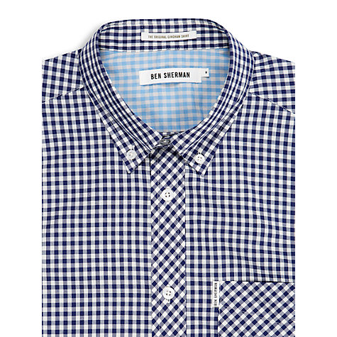Buy Ben Sherman Classic Gingham Short Sleeve Shirt, Blue Depths Online at johnlewis.com