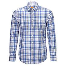 Buy BOSS Orange Eslimye Check Shirt, Blue/White Online at johnlewis.com