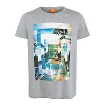 Buy BOSS Orange Tetony 1 Short Sleeve T-Shirt, Light Grey Online at johnlewis.com