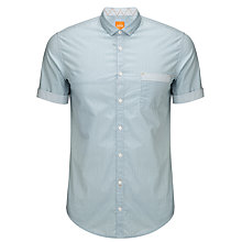 Buy BOSS Orange Erolle Short Sleeve Shirt, Grey/Green Online at johnlewis.com