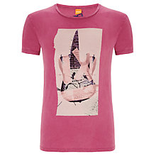 Buy BOSS Orange Townley Acid Wash T-Shirt, Raspberry Online at johnlewis.com