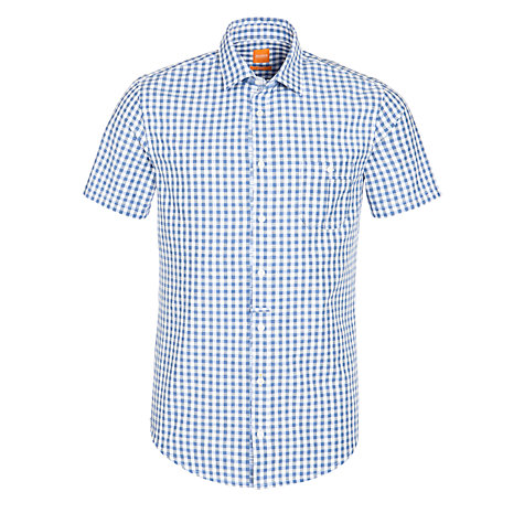 Buy BOSS Orange Eslimye Check Slim Fit Short Sleeve Shirt Online at johnlewis.com