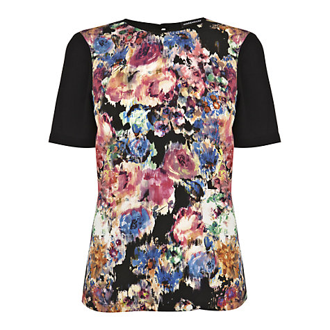 Buy Warehouse Smudgy Floral T-Shirt, Multi Online at johnlewis.com