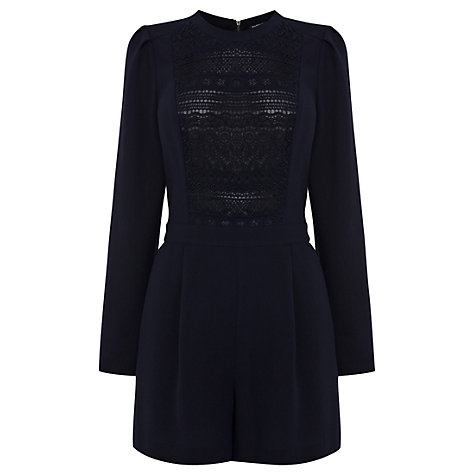 Buy Warehouse Heavy Lace Playsuit, Midnight Online at johnlewis.com