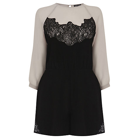 Buy Warehouse Lace Batwing Playsuit, Black Online at johnlewis.com