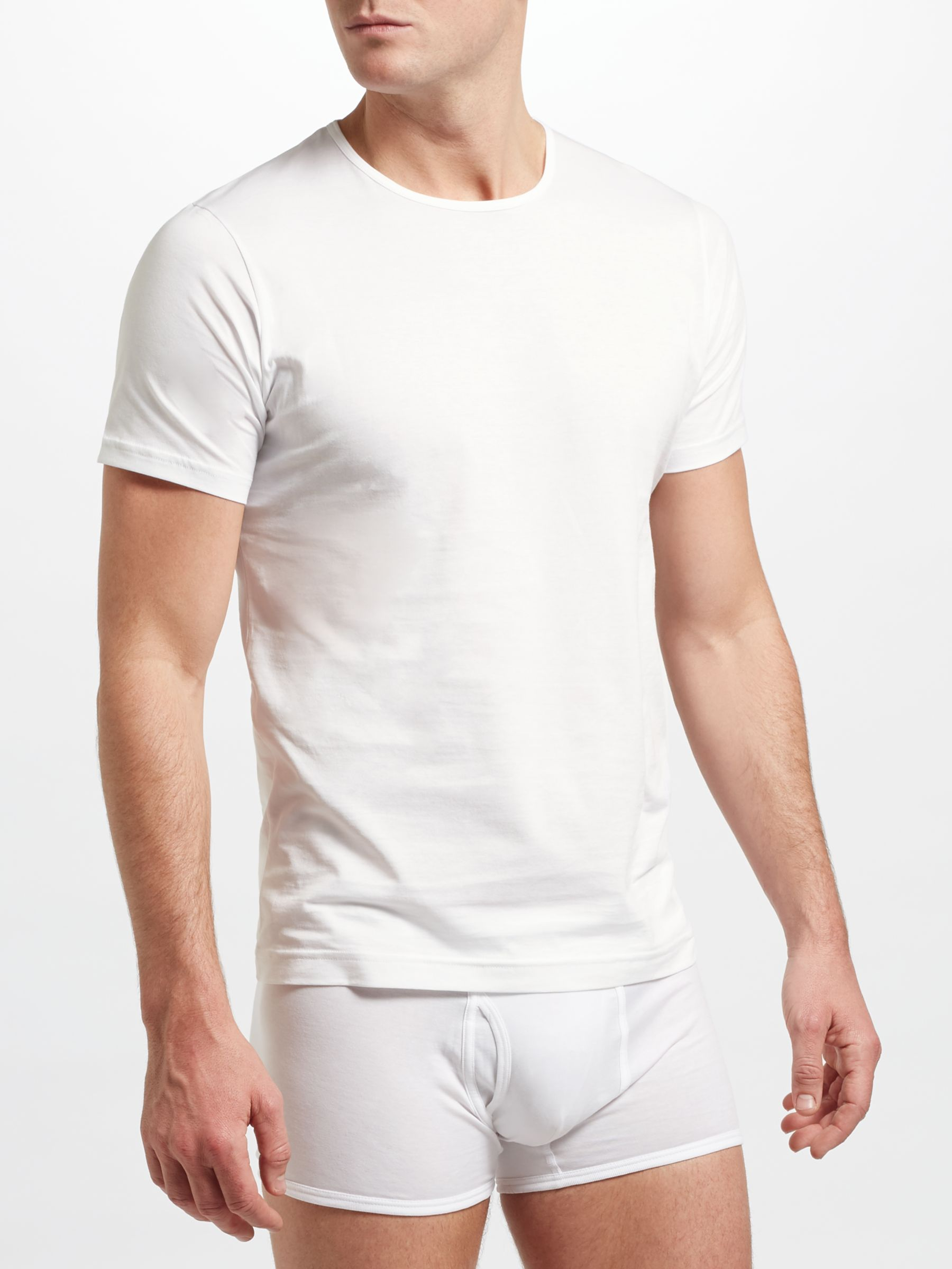 Sunspel Sunspel Short Sleeve Underwear Crew Neck T-Shirt, White