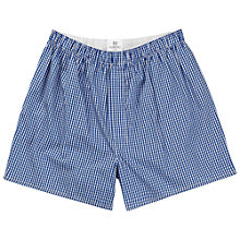 Buy Sunspel Classic Cotton Boxer Shorts, Blue Online at johnlewis.com