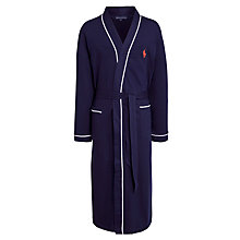 Buy Polo Ralph Lauren Cotton Jersey Piped Dressing Gown, Navy Online at johnlewis.com