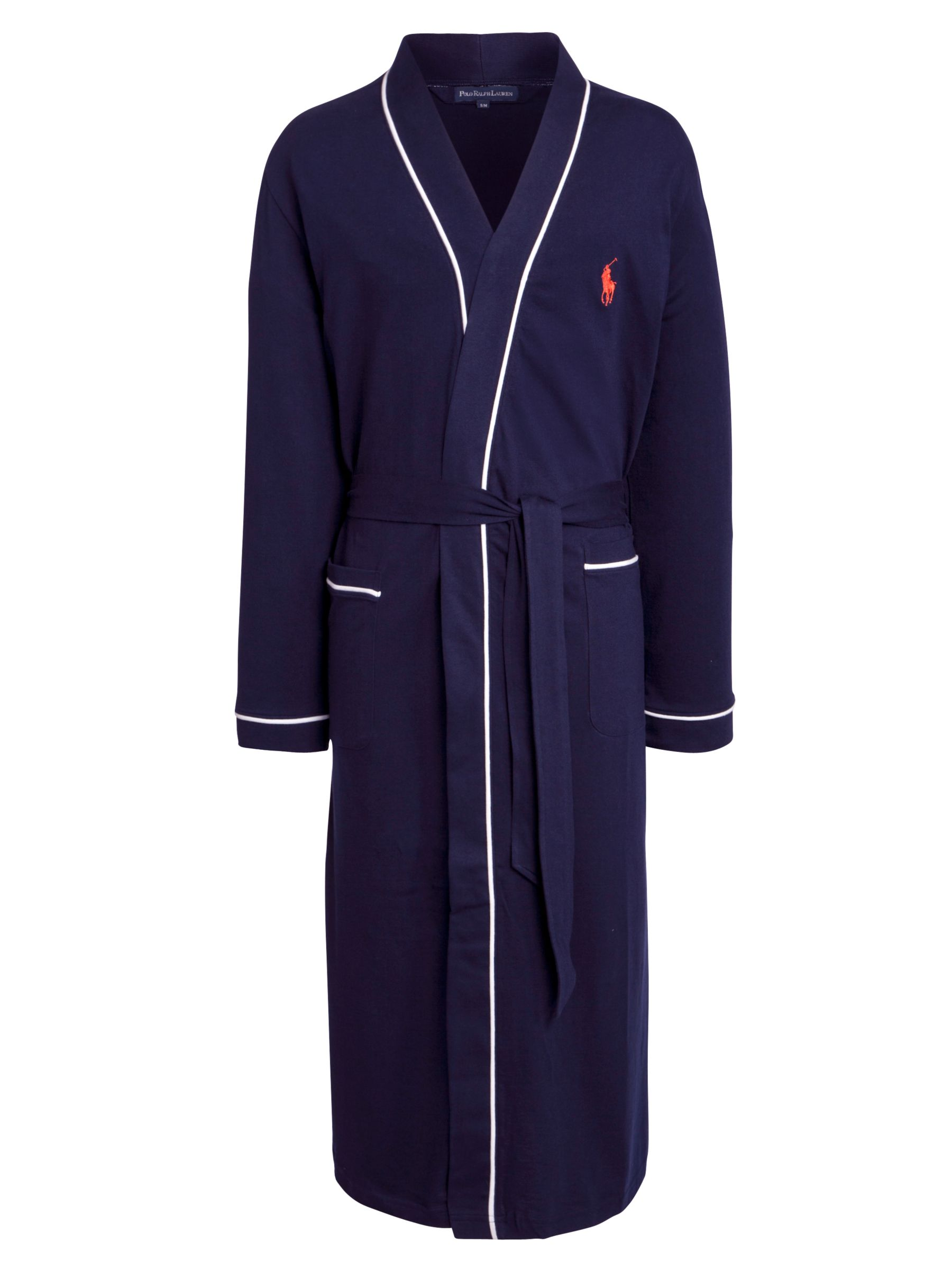 Polo Ralph Lauren Cotton Jersey Piped Robe, Navy