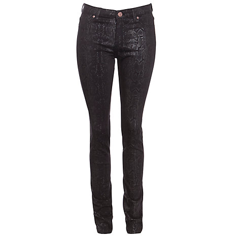 "Buy Five Units Penelope Satin Skinny Jeans 34"", Black Online at johnlewis.com"