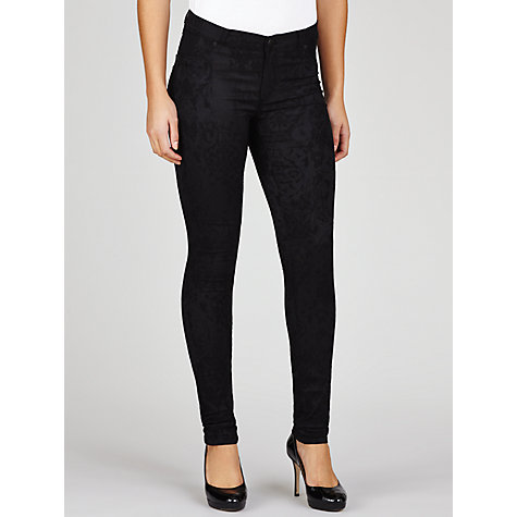 "Buy Five Units Penelope Skinny Jacquard Jeans 34"", Black Online at johnlewis.com"