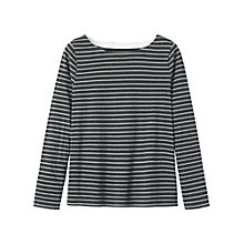 Buy Toast Boxy Breton Long Sleeved T-Shirt, Charcoal Melange/Gull Grey Online at johnlewis.com