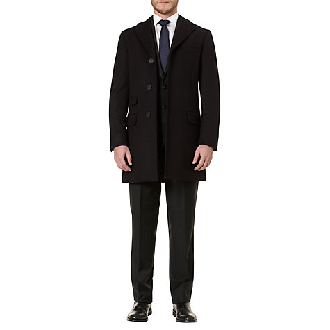 Buy Aquascutum Velvet Collar Sargent Coat, Black Online at johnlewis.com