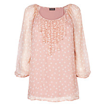 Buy Phase Eight Mischa Silk Spot Blouse, Dusty Pink Online at johnlewis.com