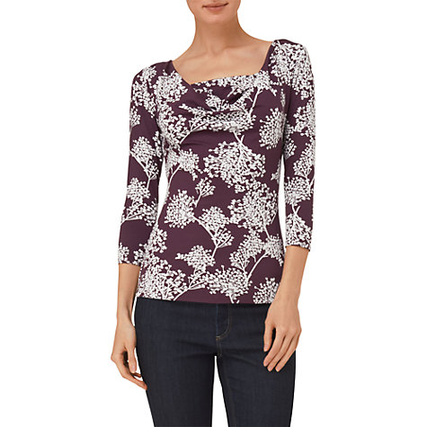 Buy Phase Eight Twiggy Print Cowl Neck Top, Damson Online at johnlewis.com