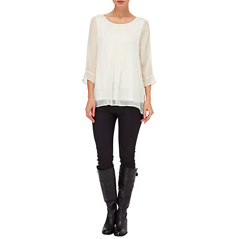 Buy Phase Eight Alana Silk Pintuck Blouse, Cream Online at johnlewis.com