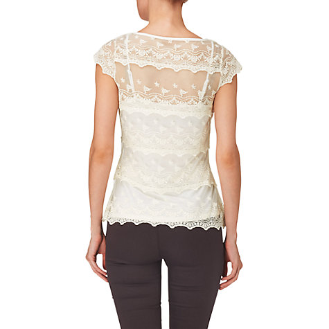 Buy Phase Eight Maura Tiered Lace Top, Ivory Online at johnlewis.com