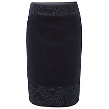 Buy White Stuff Summers End Knee Velvet Skirt, Dark Atlantic Blue Online at johnlewis.com