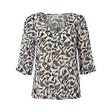 Buy White Stuff Birds Pleat Top, White Online at johnlewis.com