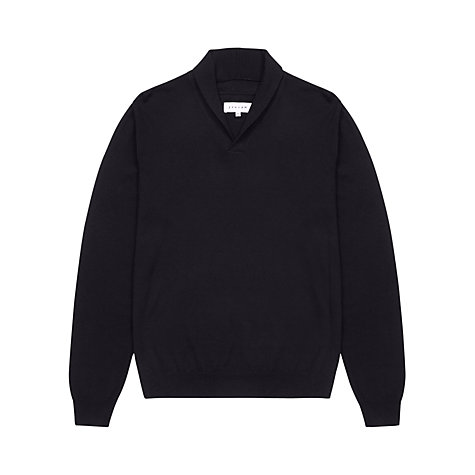 Buy Jigsaw Merino Wool Shawl Collar Jumper, Blue Online at johnlewis.com