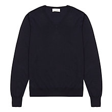 Buy Jigsaw Merino Wool V-Neck Jumper, Navy Online at johnlewis.com