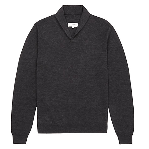 Buy Jigsaw Merino Wool Shawl Collar Jumper, Grey Online at johnlewis.com