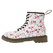 Buy Dr Martens Floral Boots, White/Multi Online at johnlewis.com