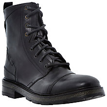 Buy Dune Chugwin Leather Military Boots, Black Online at johnlewis.com