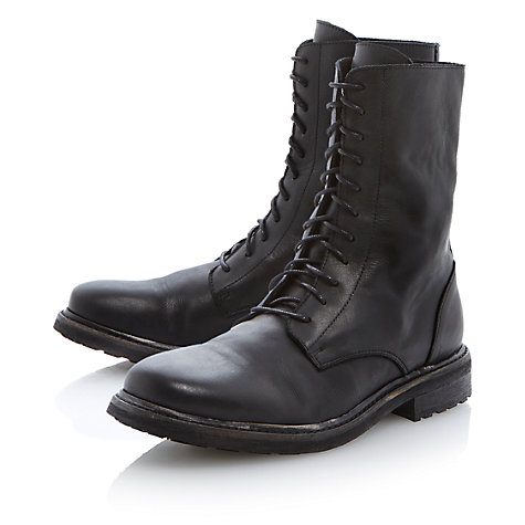 Buy Bertie Charcoal Lace Up Leather Boots, Black Online at johnlewis.com