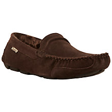 Buy Dune Freddie Faux Fur Lined Slippers, Brown Online at johnlewis.com
