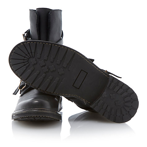 Buy Bertie Carboretta Leather Biker Boots, Black Online at johnlewis.com