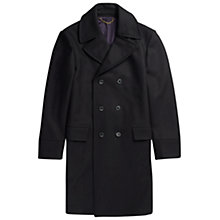Buy Jigsaw Melton Wool Double Breasted Overcoat, Navy Online at johnlewis.com