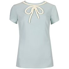 Buy Ted Baker Ianete Beaded Bow Detailed Top, Pale Blue Online at johnlewis.com