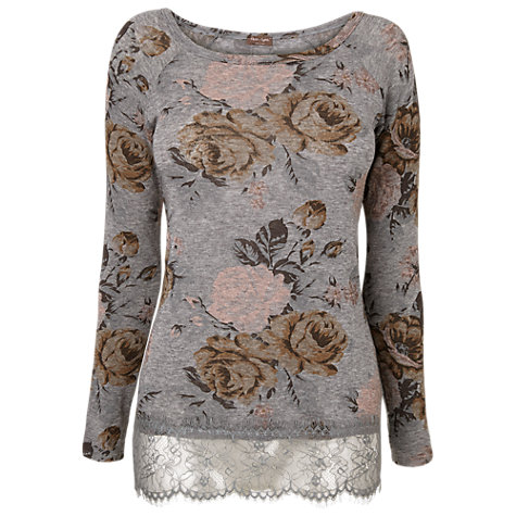 Buy Phase Eight Meg Floral Top, Charcoal/Pink Online at johnlewis.com