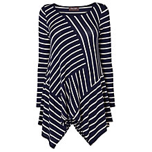 Buy Phase Eight Cut About Long Line Striped Top, Navy/Oatmeal Online at johnlewis.com
