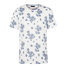 Buy Selected Homme Fade Floral Print T-Shirt, Marshmallow Online at johnlewis.com
