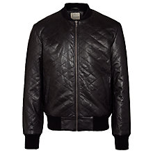 Buy Selected Homme Bedford Quilted Leather Bomber Jacket, Black Online at johnlewis.com