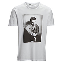 Buy Selected Homme James Dean Crew Neck T-Shirt, White Online at johnlewis.com